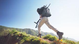 A man hiking through a trail