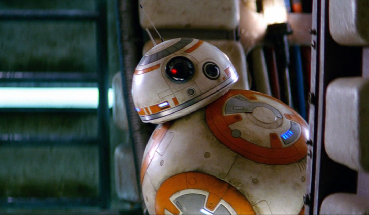 Star Wars: The Force Awakens BB-8 peeks out from around a corner