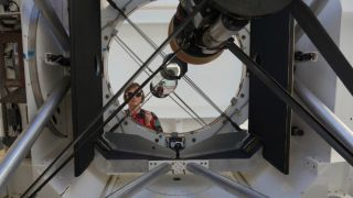 An image shows the adaptive optics system built to help track, and one day knock out, junk floating at dangerously high speed through space.