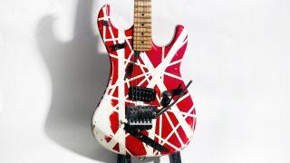 A hand-built 1984 Kramer guitar used onstage by Eddie Van Halen