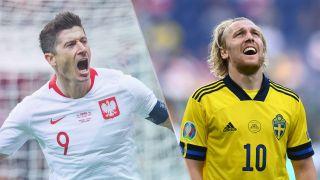 Sweden vs Poland live stream at Euro 2020 — Robert Lewandoski of Poland and Emil Forsberg of Sweden