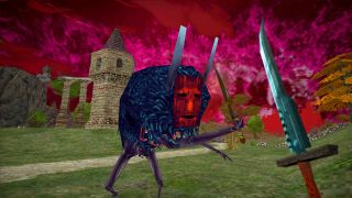 An image from RPG Dread Delusion. A red-masked creature with a body covered in black hair, with spindly arms and legs, attacks with a knife. It has a large toothy mouth in its stomach.