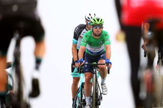 SAINTLARYSOULAN COL DU PORTET FRANCE JULY 14 Mark Cavendish of The United Kingdom and Team Deceuninck QuickStep Green Points Jersey at arrival during the 108th Tour de France 2021 Stage 17 a 1784km stage from Muret to SaintLarySoulan Col du Portet 2215m LeTour TDF2021 on July 14 2021 in SaintLarySoulan Col du Portet France Photo by Michael SteeleGetty Images