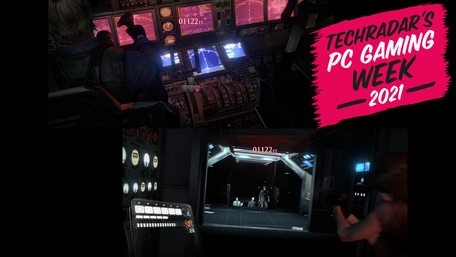 Split screen from Resident Evil 2 with PC Gaming Week logo