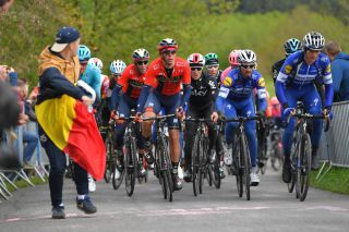 The riders tackle the climb of La Redoute during the 2019 edition of Liège-Bastogne-Liège