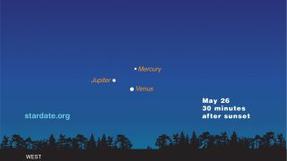 3 Planets on May 26, 2013, Sky Map