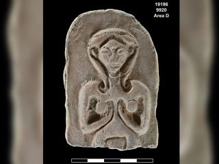 A carving found during excavations may show a fertility goddess.