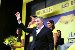 Eddy Merckx waves to fans following stage 1 of the 2019 Tour de France in Brussels, Belgium