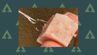 How to hook meat baits: luncheon meat in a hook