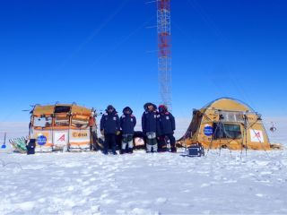 The four-person expedition, seen with their Inuit WindSled on the 12,500-foot-tall (3,810 meters) ice dome called Fuji Dome in Eastern Antarctica on Jan. 21, 2019.