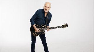 "Peter Frampton with his new signature ""Phenix"" Gibson Les Paul Custom"