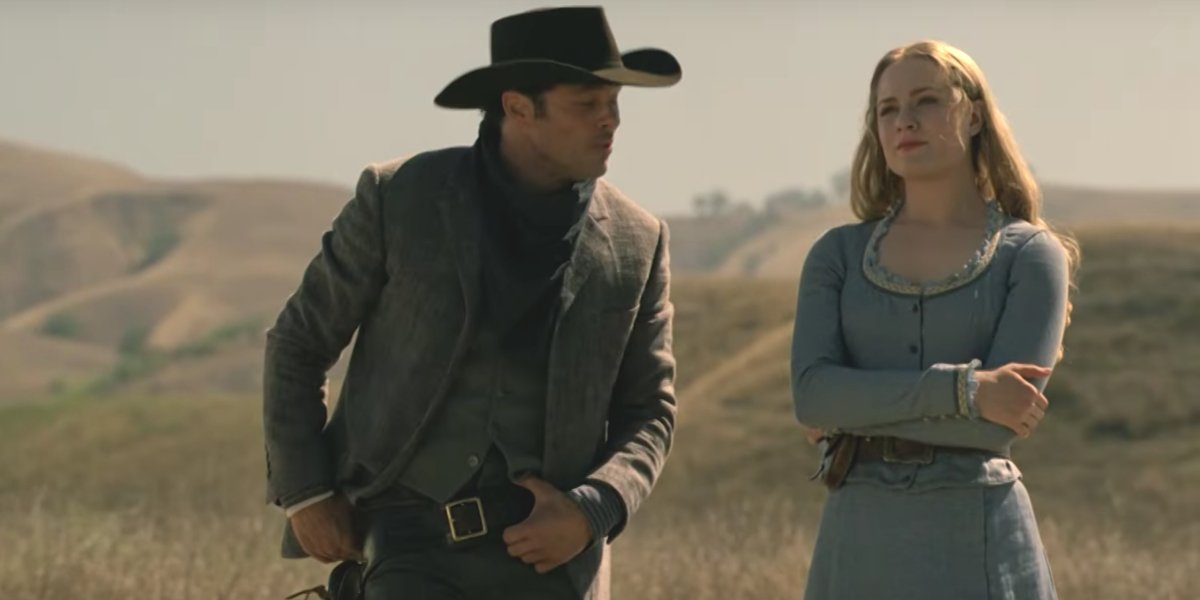 Dolores Abernathy and Teddy Flood sharing a moment in Season 1 of Westworld