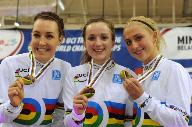 Dani King, Laura Trott and Elinor Barker win team pursuit, Track World Championships 2013, day two, evening