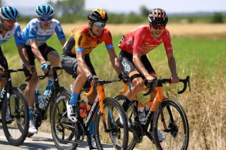 VILLADIEGO SPAIN JULY 29 Mikel Landa Meana of Spain and Team Bahrain McLaren Gotzon Martin Sanz of Spain and Team EuskaltelEuskadi Red Mountain Jersey during the 42nd Vuelta a Burgos 2020 Stage 2 a 168km stage from Castrojeriz to Villadiego VueltaBurgos on July 29 2020 in Villadiego Spain Photo by David RamosGetty Images