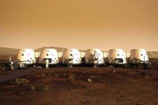 Rendered image of what the Mars One settlement will look like.