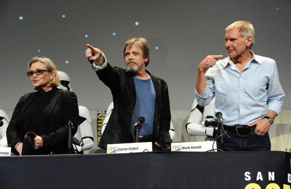 Carrie Fisher, Mark Hamill and Harrison Ford attend Lucasfilm's