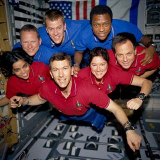 This image of the STS-107 shuttle Columbia crew in orbit was recovered from wreckage inside an undeveloped film canister. From left (bottom row): Kalpana Chawla, mission specialist; Rick Husband, commander; Laurel Clark, mission specialist; and Ilan Ramon