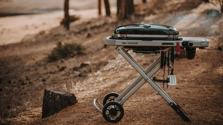 Weber Traveler gas barbecue review, image of the barbecue in a forest while camping