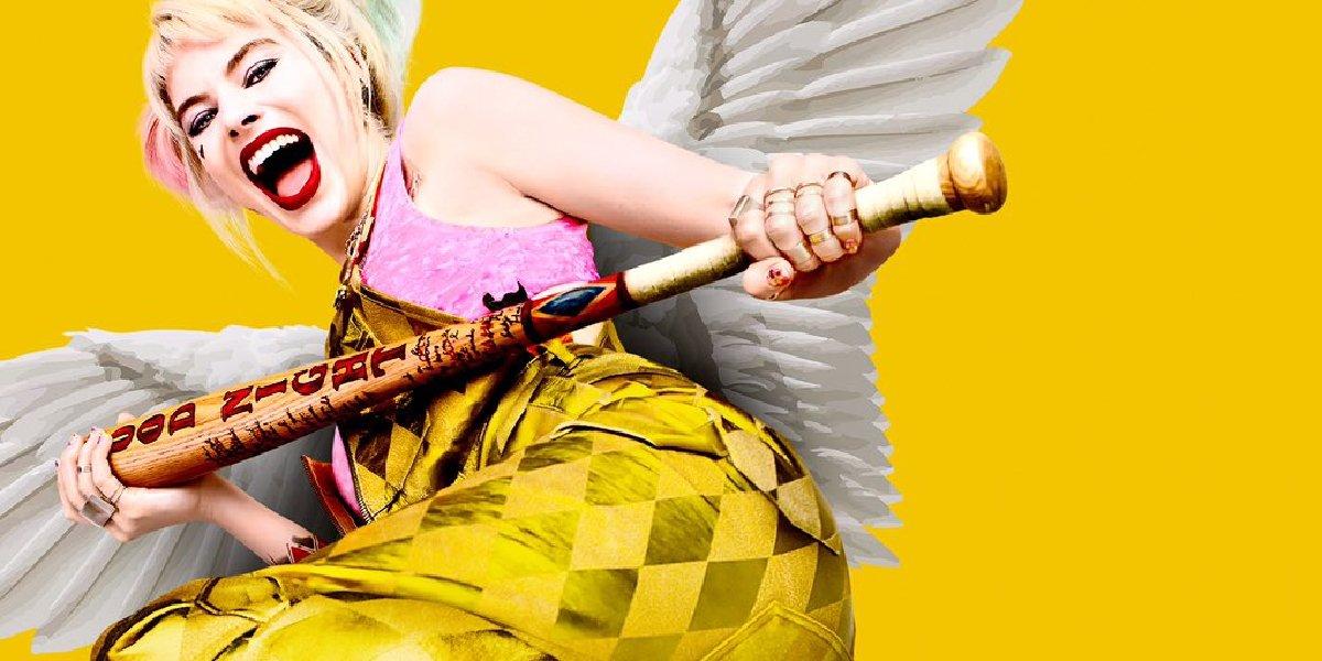 Birds Of Prey Harley Quinn in her overalls, wielding a bat