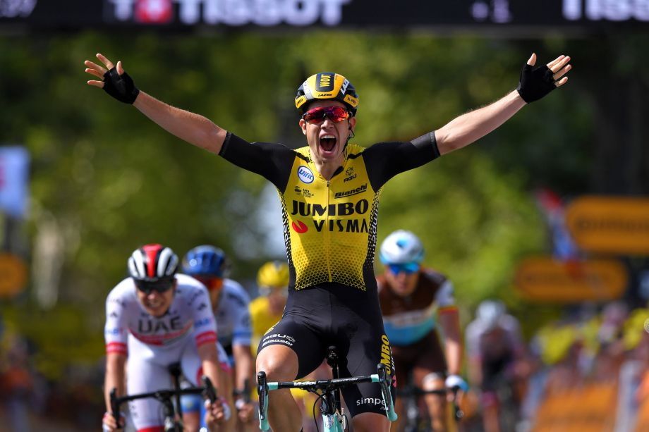 Wout van Aert sprints to first Tour de France victory on hectic stage 10