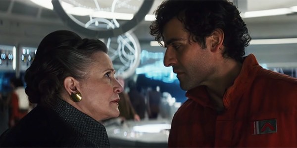 Leia and Poe having a disagreement