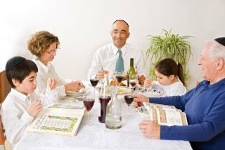 family at a passover seder