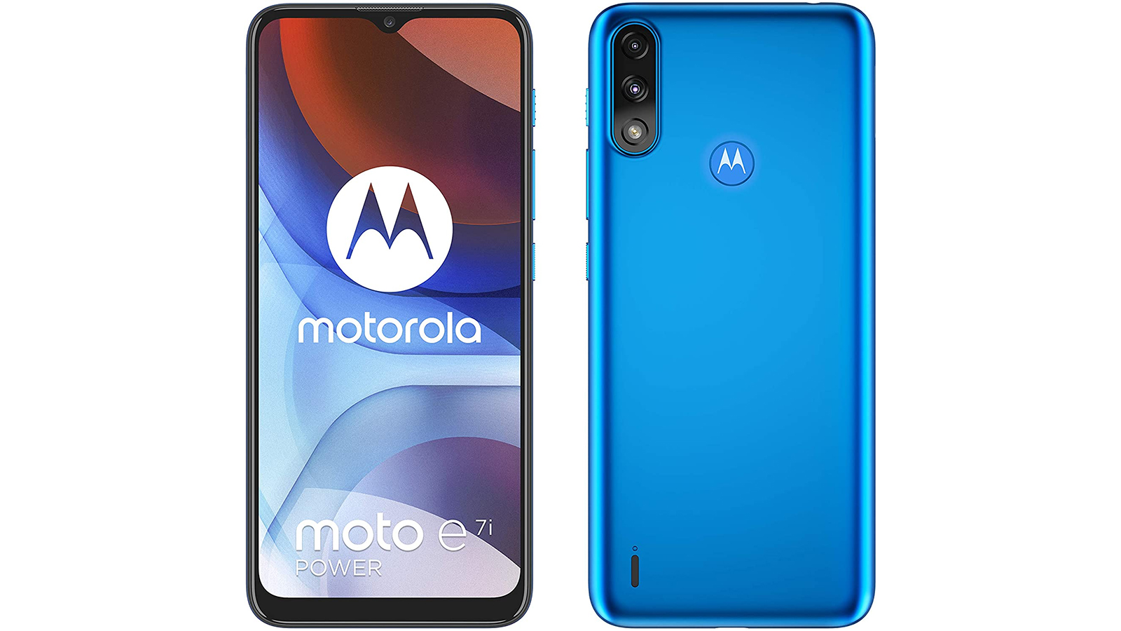 The Moto E7i Power shown from the front and back