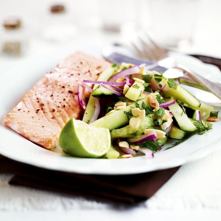 Hot smoked salmon-cucumber salad-food-woman and home