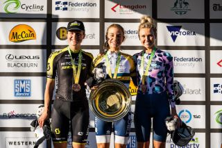 New 2020 Australian elite women's time trial champion Sarah Gigante (Tibco-SVB) is all smiles along side second-placed Grace Brown (Mitchelton-Scott, left) and Roxsolt Attaquer's Emily Herfoss