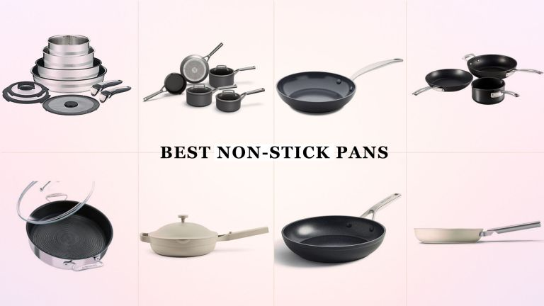 A collage image showing a selection of the best non-stick pans