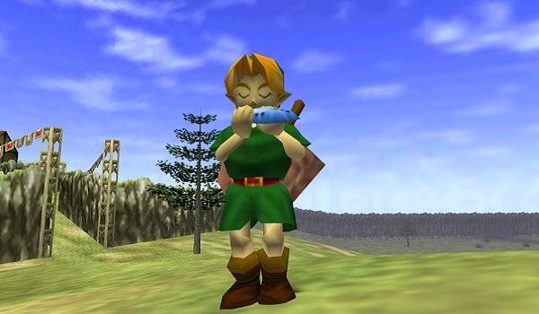 Link plays an Ocarina