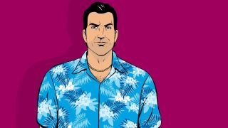 Grand Theft Auto: Vice City key art for protagonist Tommy Vercetti, wearing a blue floral shirt on a magenta background