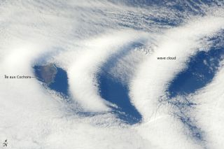 Wave clouds were photographed over the southern Indian Ocean island of