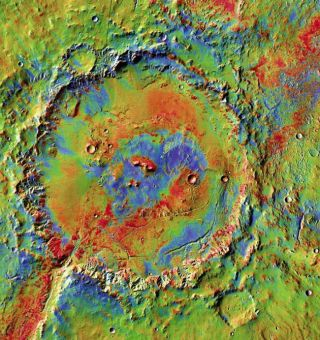 Holden crater's wide floor, shown in a newly released image, has abundant layered sediments, channels, and large piles of debris at canyon mouths. These suggest a long history of deposits by water.