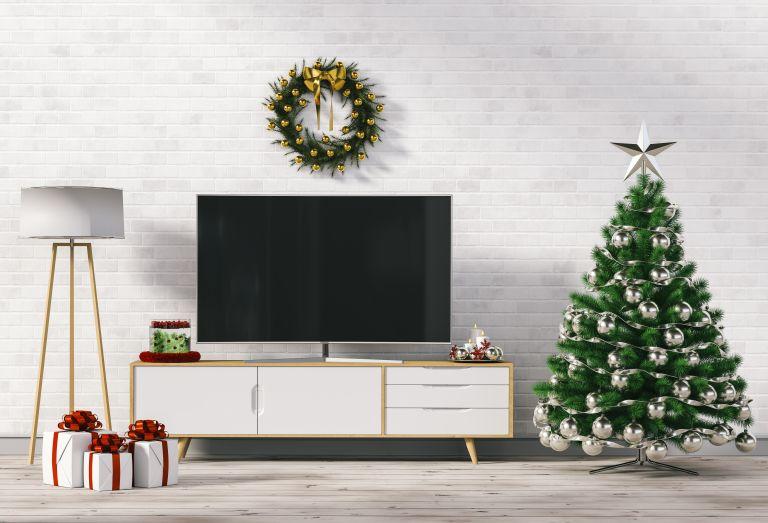 Toshiba TV: Christmas decorated living room with TV
