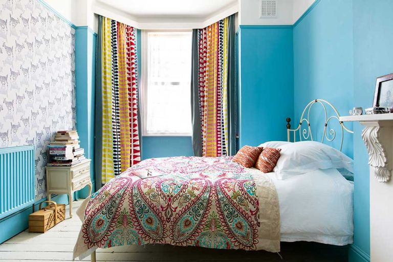 bedroom with colourful scheme