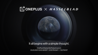 OnePlus 9 event announcement with the earth at the center of a camera lens