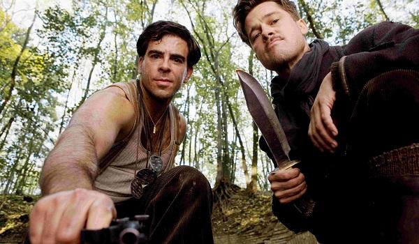 Inglorious Basterds Eli Roth Brad Pitt threatening the camera