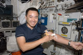 Astronaut taking a blood sample