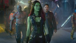 "From left, Dave Bautista as Drax, Groot (voiced by Vin Diesel), Zoe Saldana as Gamora, and Chris Pratt as Peter Quill in ""Guardians of the Galaxy."""