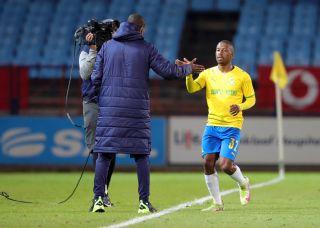 Thabiso Kutumela celebrates his goal with Rhulani Mokwena