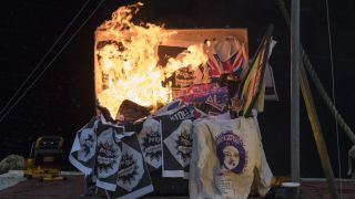 Memorabilia worth an estimated £5 million was set alight