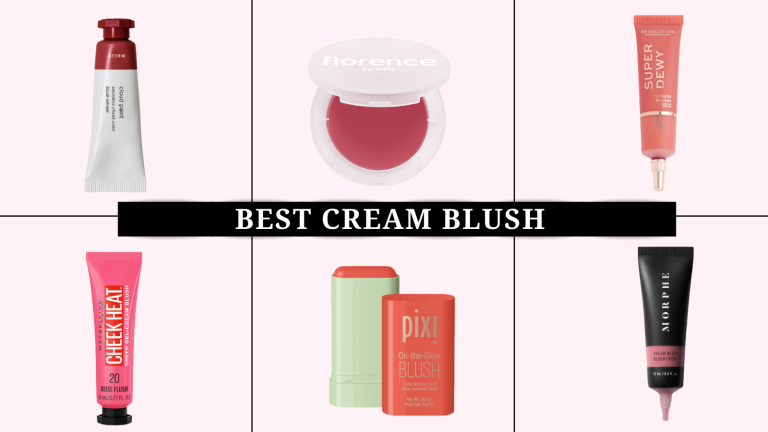 Six of the best cream blush products on a pink backdrop