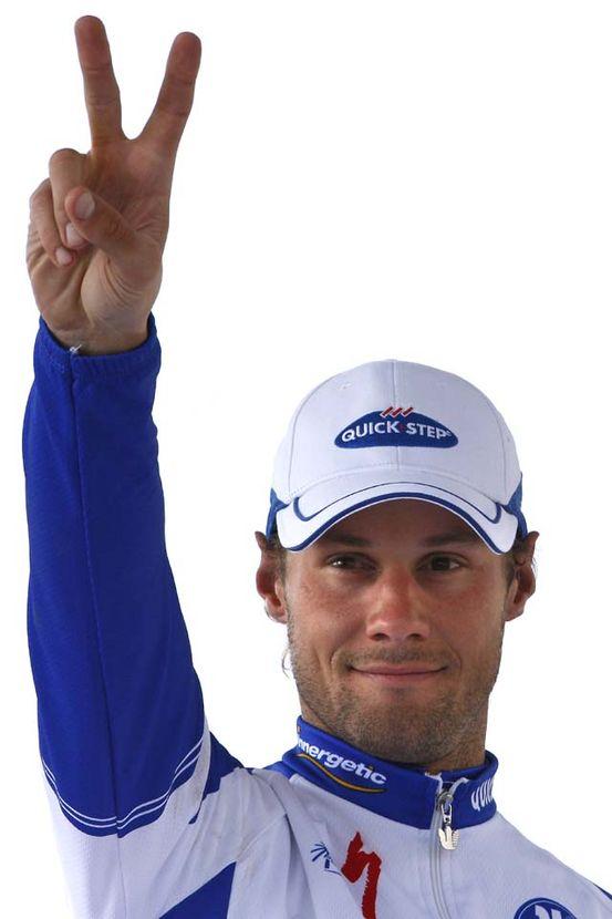 Tom Boonen celebrates his second Paris-Roubaix win