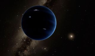 A giant planet similar to Uranus or Neptune may orbit the sun in the solar system's outer reaches. Planet Nine is shown here in an artist's impression that includes hypothetical lightning on the planet's surface. The bright star to the right is the sun.