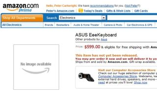 EeeKeyboard listed on Amazon US for $599