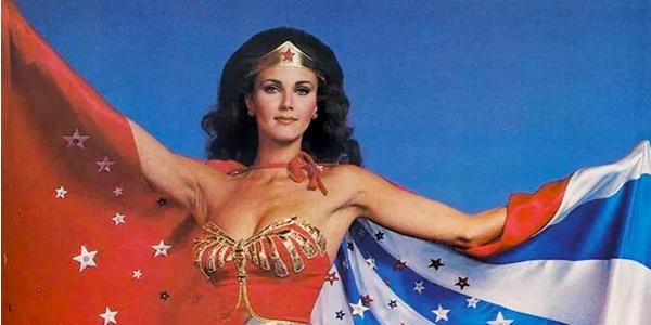 Wonder Woman Lynda Carter displaying the stars and stripes