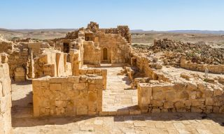 Ruins from the ancient city of Shivta in the Negev Desert in Israel.