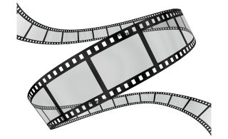 Curling transparent filmstrip on white background