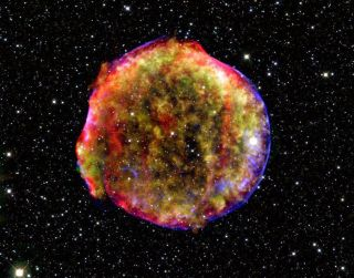 This composite image shows the flaming remnants of the Tycho supernova.